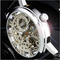 WIN016-1 Elegant Silver Mens Manual Skeleton Mechanical Watch Wrist Watch Christmas Gift Free