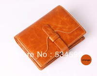 new 2013 brand desinger purse women genuine leather men women wallets orange black two color leather wallet free shipping