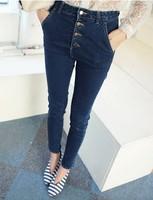 Korea New Denim Jeans Woman Single Breasted High Waist Pants Show Thin Skinny Women jeans Four BuckleA Long Femininas Capris 808