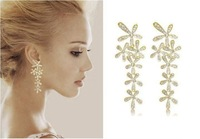 hot selling 2014  Shipping 2013 new jewelry fashion gold flower full rhinestone ultra long earrings crystal for women 1204