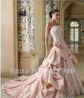 In Stock 2013 Free Shipping Best Selling Pink Strapless Appliques Ruched Taffeta Popular Wedding Dresses with Long Train D0062