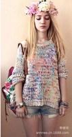 2013 Free shipping new hot sale popularity sweater women's rainbow knit big size sweater 1653XIAOFANG