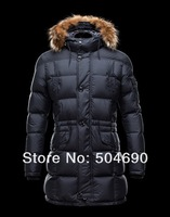 Free Shipping 2013 Fashion Hot Sale New Long Men Down Jacket Brand Men's Down Coat Winter Overcoat Outdoor FUR COLLAR Down Parka