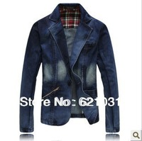 Free Shipping 2013 New Arrivel Slim Fit Men Denim Blazer Casaul Men Suit Fashion Cotton  Denim Jacket Men Jeans Suits Blazers