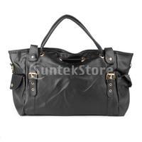Free Shipping Ladies PU Leather Handbag Shoulder Bags Tote - Black