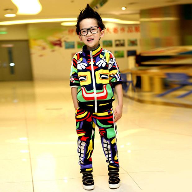 Children's clothing sets spring-autumn girl boy kid sports suit (coat +pants) male female child set personalized maya(China (Mainland))