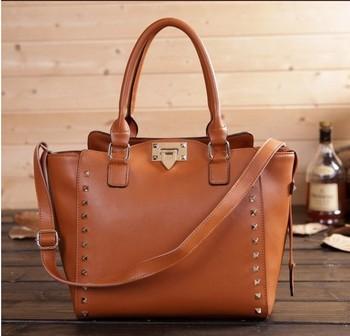 2014 NEW Spring women handbag genuine leather large tote rivet shoulder bag cowhide women messenger bags designers brand famous