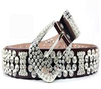 free shipping wholesale lady genuine leather belt, women leather rhinestone belt  real leather crystal belt women