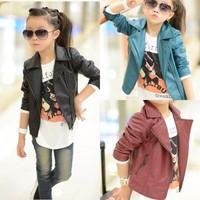 Children's clothing 2013 female child PU water wash leather clothing child leather clothing jacket baby outerwear
