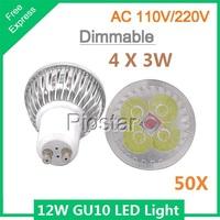 (50pcs/lot) Dimmable 12W (4*3W) GU10 LED Spotlight bulb light AC85V-265V GU10  LED lamp downlight Cool White/ Warm White