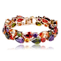 Free Shipping Fashion Jewelry Colorful AAA class Zircon Crystal Wide Vintage Romantic Bracelet High Quality Great Gift