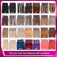 "Beautiful Virgin Hair Clip In Extension Natural Human Hair Clip Ins Female 15""18""20""22""24"" 7pieces/8pieces/set #2 Dark Brown"