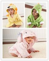 Freeshipping unisex baby bathrobe animal hooded boy girl/cotton towel kid's robe/children infant bathing robe