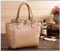 2014 New Arrival Fashion Women Genuine Leather Handbags Designer Bags Rivet spike Tote Shoulder handbag women's Messenger Bag
