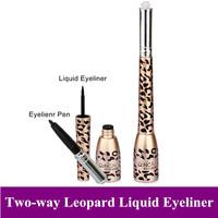 New 2 in 1 Leopard Design Black Liquid Eye liner +Waterproof Eyeliner Pencil  Cosmetic Liner Pen Gift 2.5ml Free shipping