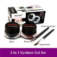Hot 2pcs Mix Sale (Black+Brown)Color Eye liner Gel Makeup Eye Liner Cream Long Wear Cosmetic Liner Gel Gift FreeShipping