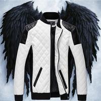 new 2014   leather jacket men  men's leather jacket motorcycle sport jacket  pu men's leather coat spring -summer  new 2013