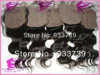 "Free shipping  Malaysian hair 5pcs lot lace closure,hidden  knots silk top closure,4""x4"" Malaysian body wave silk base closure"