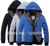 Free Shipping 2013 Men's designer Hoodies sweatshirts Thicken cotton Autumn& Winter Man Cloting Tops outdoor coat 3 colors M-XXL