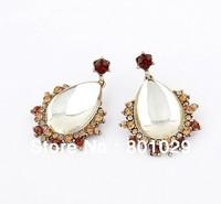 Fashion water drop crystal stud earrings free shipping