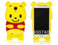 3D Lovely Winne Bear Cute Cartoon Silicone Case Back Cover for samsung galaxy S4 i9500+1pcs screen protect free shipping