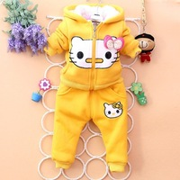 Free shipping 2013 New Winter Baby wear Girls Hello Kitty Clothing Children Fleece Cartoon Suits Warm Tracksuit kids Clothes set