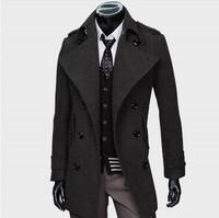 2013 Men Autumn And Winter Jacket Man Fashion Wool Coat Personality Woolen Men's Overcoat Black Gray M/L/XL/XXL