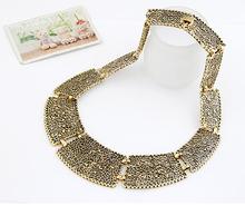 2014 Wholesale Fashion Vintage Antique Gold Color Bijoux Hollow Flowers Collar Statement Necklace 2014 For Women
