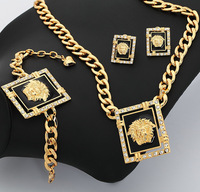 2013 New Items Chunky Chain Necklace Earrings Bracelet Jewelry Sets 18K Gold Plated Crystal African Costume Jewelry Set  7VS3157