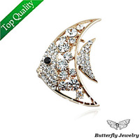 2014 Fashion Full Rhinestone Gold Fish Brooch For Women,Top quality Brooches 18K Gold Plated