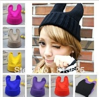 2014 Wool hat qiu dong han female demon cat ear Angle for both men and women in South Korea MaoXianMao knitting
