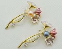 Freshwater Pearl brooche for wedding, Designer Korean bridal brooch bouquet wholesale, cheap flower brooches with Pins