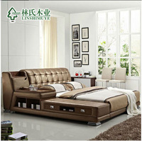 modern genuine leather bed,double-person sofa bed,storage bed ,1.8m*2.0m,affordable in-home delivery by boat ,withou mattress