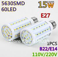 Hot sale!!1pcs E27/E14/B22 5630 SMD 60LEDs 15W High Power LED Corn bulb, Led light Warm / Cool white 110V/220V Led lighting