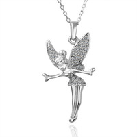 Free Shipping 18k gold jewelry plated angle wing flying necklace crystal pendant necklace fine quality