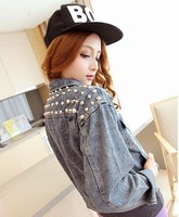 2013 New Women Punk Rivet Denim Jacket Motorcycle Outerwear Vintage Fashion Basic Coats