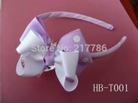 Girl hairbows grosgrain hairbow hairband hair band satin flower Crochet headband baby hair bow no.f11