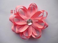 Girls' hair bow White Ribbon Flower Hairbow, Flower Hairbow, Flower Hairclip, Girl Hairbow, Baby Hairbow f22