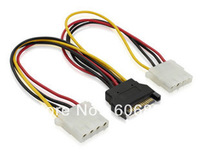 Free shipping Factory price 5pcs/lot 15 Pin SATA Male to 2 IDE Splitter Female Power Cable