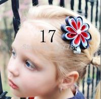 Girl hair bows flowers hair clip grosgrain ribbon Flower Hairbow, Flower Hairclip, Girl Hairbow, Baby Hairbow cc03