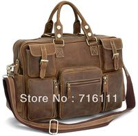 Free Shipping Vintage Style Mens genuine leather large luggage duffle gym bag shoulder tote handbag travel bag 3062