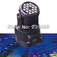 2pcs/lot,Free shipping,18pcs*3W led moving head wash light (54W) RGB Color,DMX 512 stage dj party strobe led moving head light