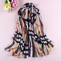 2014 BRAND NEW Style Women's Long Silk Scarf Velvet Chiffon Lady's plaid scarf shawl Min.order $10 mix order Free shipping