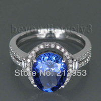 Jewelry Sets Vintage Oval 8x10mm 14Kt White Gold Natural Diamond Tanzanite Ring G090795