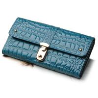 Fashion Crocodile pattern wax cowhide wallet female long design genuine leather women purse multifunctional wallet bag