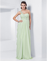 Lost in City Nights! Party Dress Prom Dress Sheath/Column One Shoulder Sweetheart Floor-length Chiffon Evening Dress