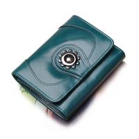 2014 Fashion Women /lady short design genuine leather wallet female Vintage wax cowhide purse  female Christmas gift
