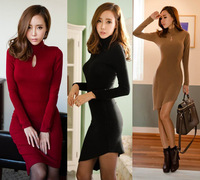Wholesale Free Shipping Choker Key-hole Long Sleeve Asymmetrical Hem Stretch Pencil Sheath Dress For Women Fashion 2013 New