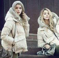 2013 Newest Hot Selling Thick Down Coat Women's Short Design Loose Style Thickening Hoody White Duck Down Outwear FWO18011
