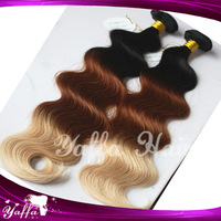 Fashion Omber Brown and Blonde Color Body Wave Peruvian/Malaysian/Russian Virgin Remy Human Hair Extension  8''-32'' Wholesale